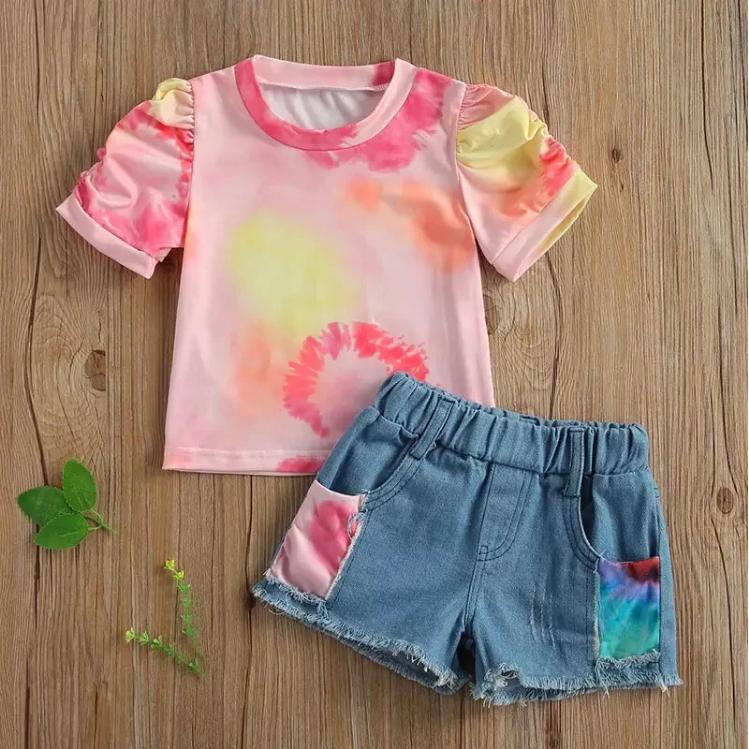 Riolio Toddler Girl Tie Dye Print T-shirt & Shorts