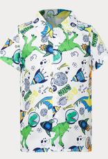 PatPat Space Dinosaur Print Button Polo Shirt