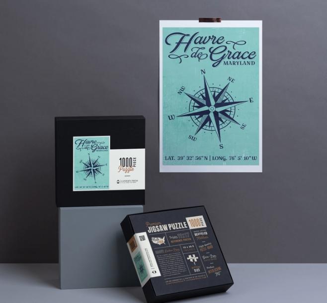 1000 Piece Puzzle - Havre De Grace, Long. and Lat., Compass Design