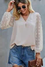 ePretty long sleeve pom pom blouse