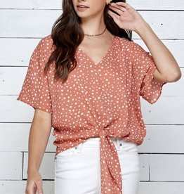 V NECK TIE FRONT SHORT SLEEVES WOVEN TOP