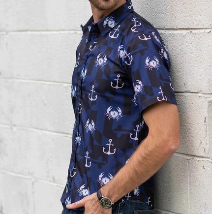 Nautical Crab & Anchor Navy Hawaiian Shirt