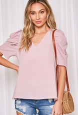 V NECK SOLID PUFF SLEEVES TOP