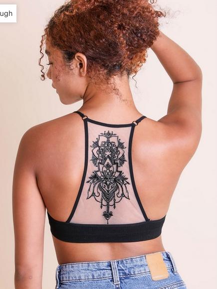 Leto Accessories Tattoo Mesh Racerback Bralette