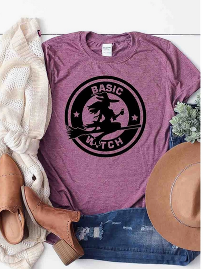 Kissed Apparel Basic Witch Graphic Tee-Plum