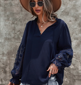 ePretty TIE NECK LACE SLEEVE BLOUSE- NAVY