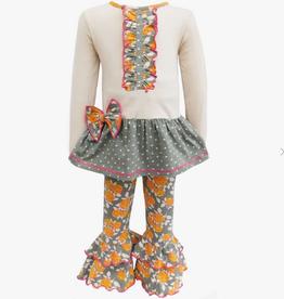 AnnLoren GIRLS GREY FLORAL/POLKA TUNIC RUFFLE PANTS