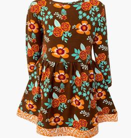 AnnLoren GIRLS FALL FLORAL THANKSGIVING DRESS