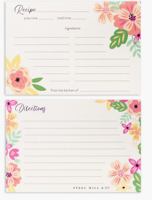 Steel Mill & Co. Recipe Cards - Mint Floral