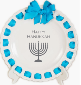 """Prissy Plates Gifts & More 12"""" White Plate W/ Turquoise Ribbon & Bow - Happy Hanukkah"""