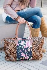 Prissy Plates Gifts & More Cheetah Floral Weekender Bag