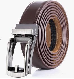 "Mio Marino Bristle Leather Linxx Ratchet Belt, Amber, 38""-54"" Adjustable"