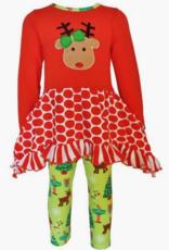 AnnLoren Christmas Reindeer Tunic and Holiday Legging Set