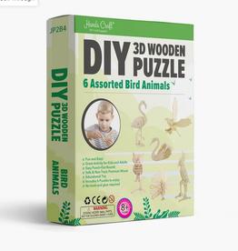 Hands Craft JP2B4, DIY 3D Wooden Puzzle 6 Ct. Bird Animals