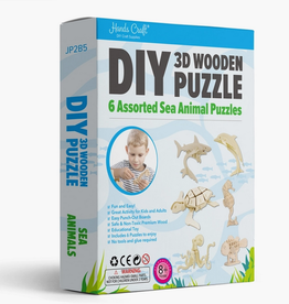Hands Craft JP2B5, DIY 3D Wooden Puzzle 6 Ct. Sea Animals