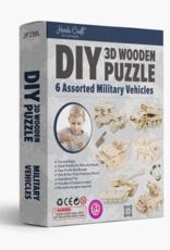 Hands Craft JP2B6, DIY 3D Wooden Puzzle 6 Ct. Military Vehicles