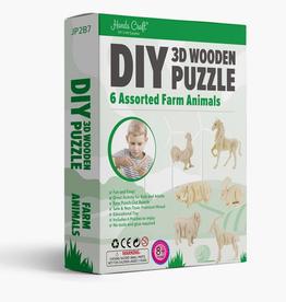 Hands Craft JP2B7, DIY 3D Wooden Puzzle 6 Ct. Farm Animals