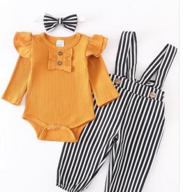 Honeydew kids clothing Mustard Ruffle Shirt/Stripe Pant Set