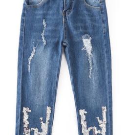 Honeydew kids clothing Silver Sequin Denim Jeans