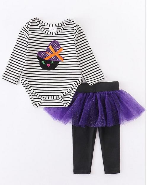 Honeydew kids clothing Striped Halloween Cat Purple Tutu Set