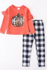 Honeydew kids clothing Orange Pumpkin Plaid Pants Set