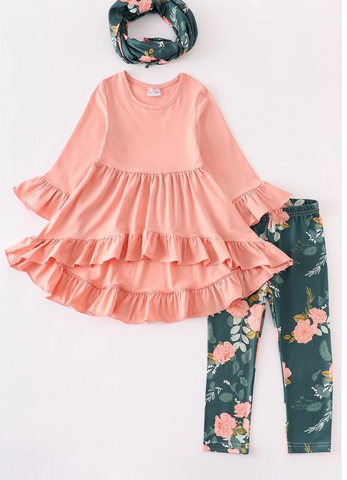 Honeydew kids clothing Blush Floral 3 Piece Scarf Set