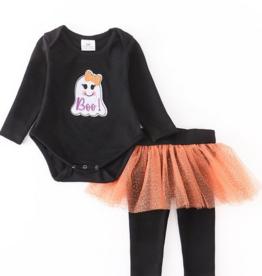 Honeydew kids clothing Black Boo Applique Orange Tutu Baby Set