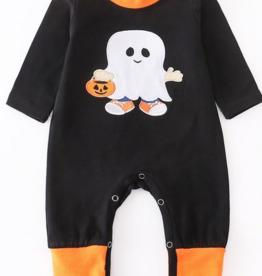 Honeydew kids clothing Orange/Black Lovely Ghost Baby Romper