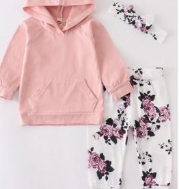 Honeydew kids clothing Pink Floral Baby Hoodie Set