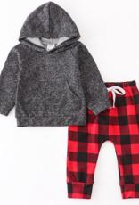 Honeydew kids clothing Black/Red Plaid Hoodie Set