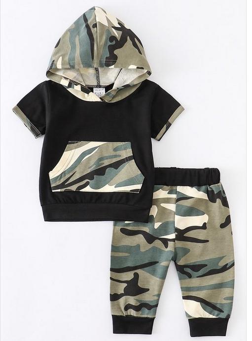 Honeydew kids clothing Black Camoflauge Hoodie Set