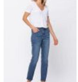 Judy Blue 88270PL Hi-Waist Boyfriend Med. Blue Non-Destroyed Jeans