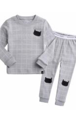 Salon de bebe Blanc Cat Grey Unisex Pj Set