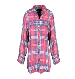 N TOUCH Navy/Red Plaid Button Up Long Sleeve Blouse
