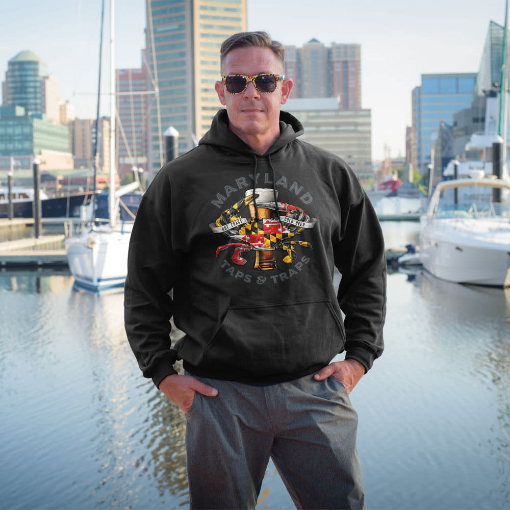 Maryland My Maryland MD Crabs Taps & Traps Hoodie