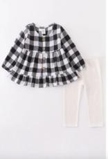 Honeydew kids clothing BLACK/WHITE PLAID RUFFLE TUNIC PANTS