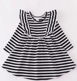 Honeydew kids clothing BLACK STRIPE RUFFLE DRESS