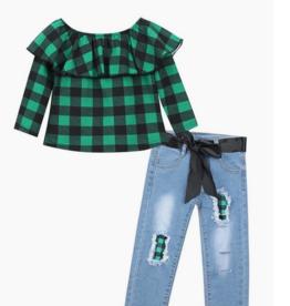 Honeydew kids clothing GREEN BLACK PLAID DENIM SET
