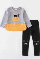 Honeydew kids clothing GREY PUMPKIN CAT PANTS SET