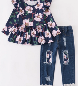 Honeydew kids clothing NAVY FLORAL SHIRT AND JEANS SET