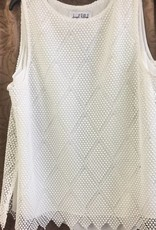 Joseph Ribkoff White Waffle-Weaved Sleevless Tunic 171556