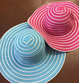 Magid Magid Paper Straw White Striped Wide Brim Hat