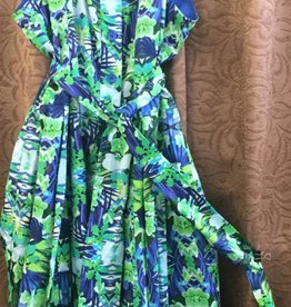 LINEA DOMANI Linea Domani - 7096 - Sleevless Dress w Collar - Blue/Grn Floral - Size 14