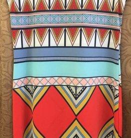 TRIBAL Tribal Printed Dress - 10697O - Ornge & Blue