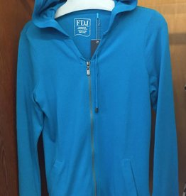 FRENCH DRESSING French Dressing String & Zip Front Turquoise Hoodie