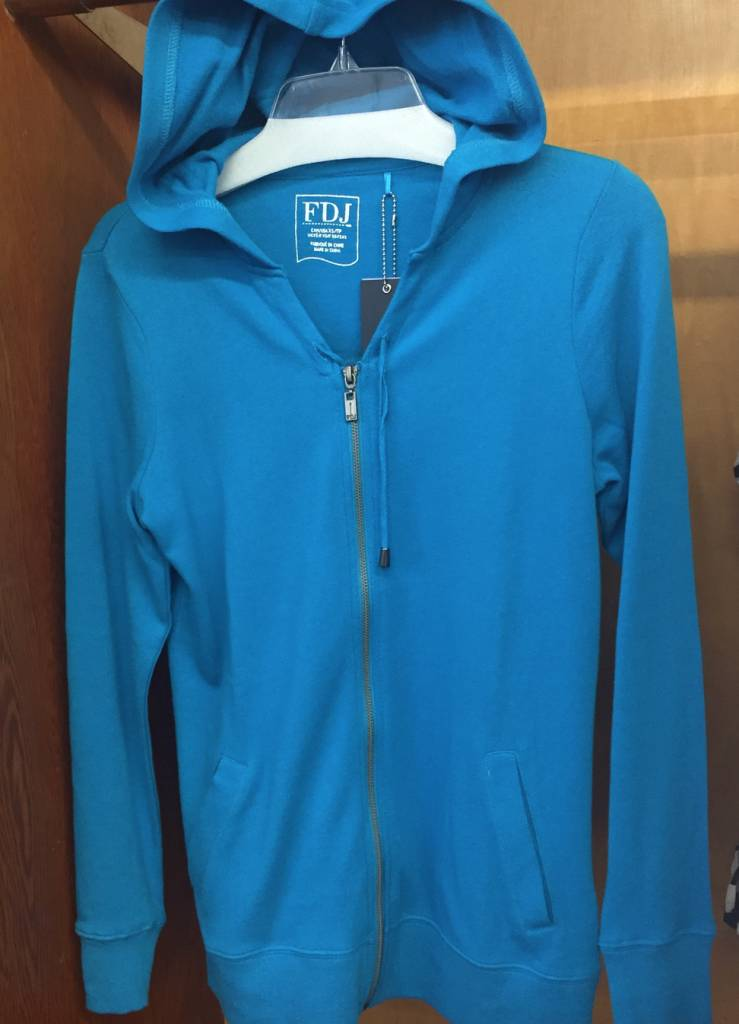 French Dressing String & Zip Front Turquoise Hoodie