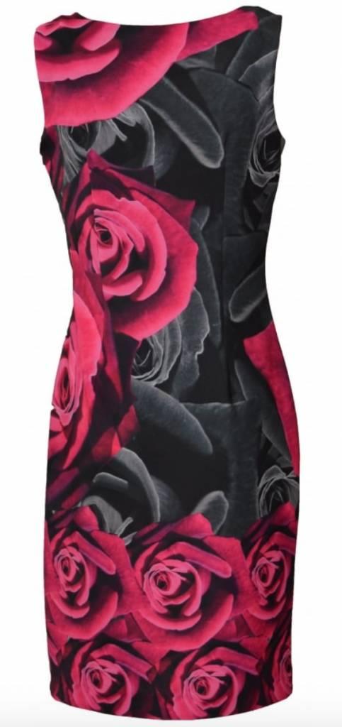 Joseph Ribkoff Slvless Rose Pttrn Dress w Chiffon Cape - 174744