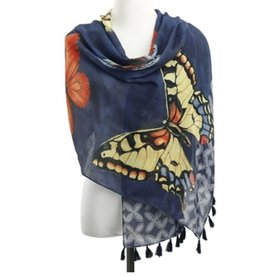 DEMDACO Demdaco SW 2 Sided Rectangle Scarf - Blu Butterflies