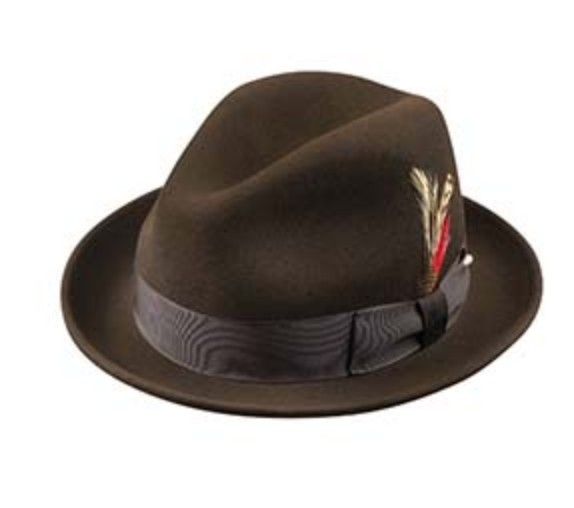 Broner Hats Broner Drk Brown Felt Melodrama 73-3842 - Josephs ... d2173cd0c427