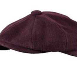 Broner Hats Burgundy 8 QTR Cap, Tie Lined